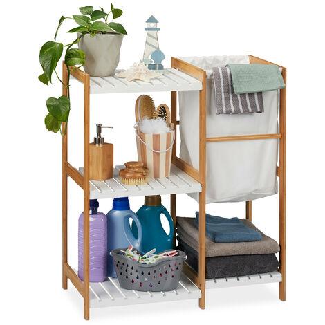 étagère de salle de bain avec panier à linge, ouverte et autonome, Bambou et MDF, 76x65,5x33 cm, naturel/blanc