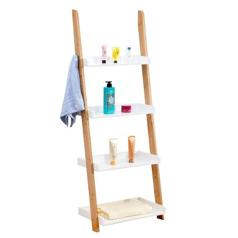 Etagère de salle de bain BUFFALO meuble de rangement en bambou en forme d'échelle avec 4 tablettes et 2 crochets, blanc et naturel