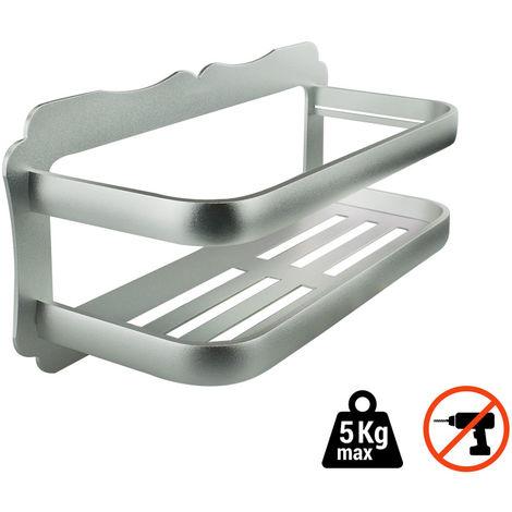 Etagère de salle de bain en aluminium, L.30cm à fixer sans percer ...