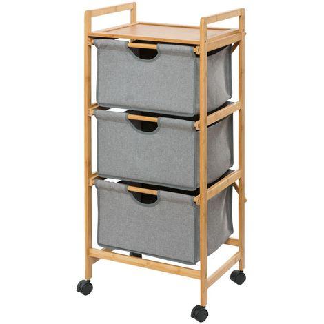 Etagère de salle de bain en bambou 3 Tiroirs - H. 96 cm - Gris - Gris