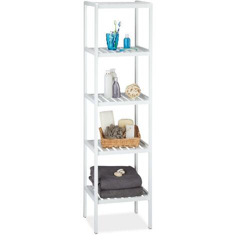 Etagère de salle de bain en bambou meuble de cuisine 5 niveaux HxlxP: 139,5 x 34,5 x 33 cm, blanc