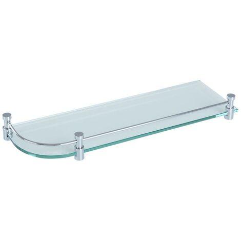 Étagère de salle de bain étagère d'angle miroir étagère de douche chromé verre