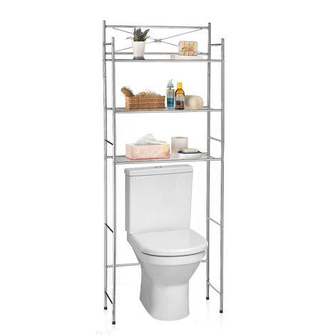 Etagère de salle de bain MARSA meuble de rangement au-dessus des toilettes wc ou lave-linge avec 3 tablettes, en métal chromé