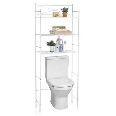 Etagère de salle de bain MARSA meuble de rangement au-dessus des toilettes wc ou lave-linge avec 3 tablettes, en métal laqué blanc
