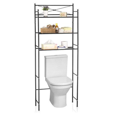 Etagère de salle de bain MARSA meuble de rangement au-dessus des toilettes wc ou lave-linge avec 3 tablettes, en métal laqué noir