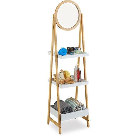 Tag re de salle de bain miroir bois meuble sur pied cuisine 3 niveaux hxlxp 162 x 43 x 36 cm - Miroir en bois salle de bain ...