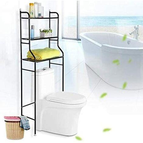 Étagère de Toilette/Meuble de Toilette / Colonne de Toilette / 3 Rangées Etagère de Salle de Bains - Noir