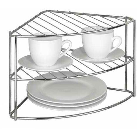 Etagère de vaisselle d'angle chromée WENKO