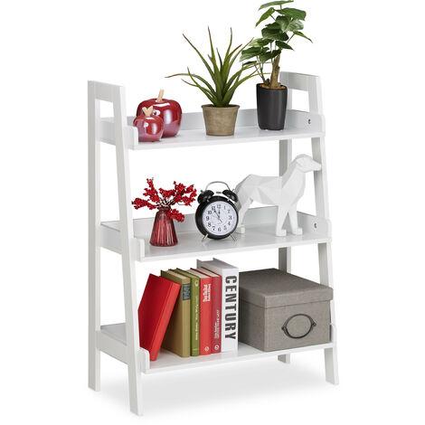 Etagère droite, 3 niveaux, échelle décorations, plantes et livres, en escalier, HlP: 82,5 x 61 x 29 cm, blanc