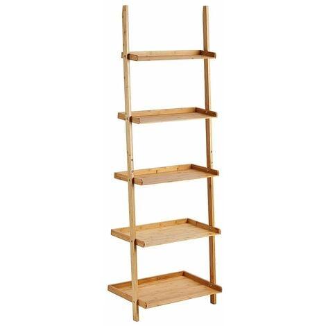 Étagère echelle escalier sur pied en bambou 5 étages - Rangement bibliothèque séjour - 64x45x180cm - Naturel