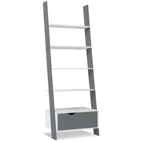 """main image of """"Étagère échelle scandinave KLARA bois blanc et gris"""""""