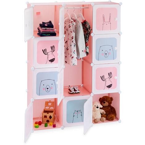 Etagère emboîtable enfants, fillettes, motifs ludiques, plastique, Armoire DIY portes, HlP 145x110x37,5cm,rose