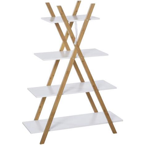 Étagère en bambou de salle de bain design pyramidal - étagère de rangement 4 niveaux - dim. 80L x 33l x 109H cm - MDF blanc - Blanc