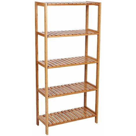 Etagère en bambou, rangement salle de bain, étagère à chaussures, étagère à livres, étagère pour fleurs, 5 niveaux, 130 x 60 x 26cm BCB35Y