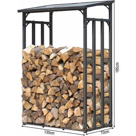 Étagère en métal pour Bois de cheminée Anthracite 130 x 70 x 130 cm Distance Entre Les Bois 1.6 m3