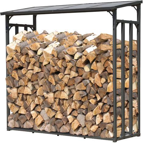 Étagère en métal pour Bois de cheminée Anthracite 143 x 70 x 145 cm Distance Entre Les Bois 1.4 m³