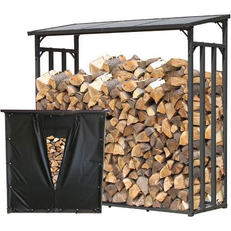 Étagère en métal pour Bois de cheminée Anthracite 143 x 70 x 145 cm Distance Entre Les Bois 1,4 m³ avec protection contre les intempéries Noir