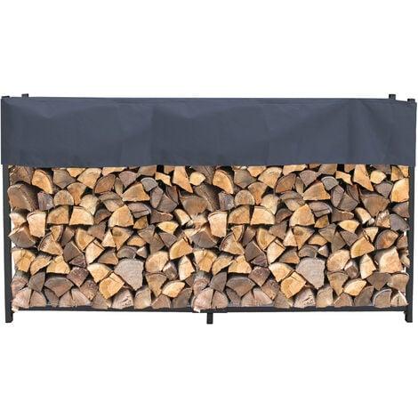Étagère en métal pour Bois de cheminée avec Housse Gris Anthracite 200 x 25 x 115 cm Épaisseur 0,8 m