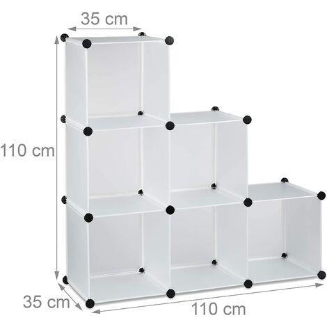 Étagère escalier 6 compartiments meuble bibliothèque séparation blanc - Blanc