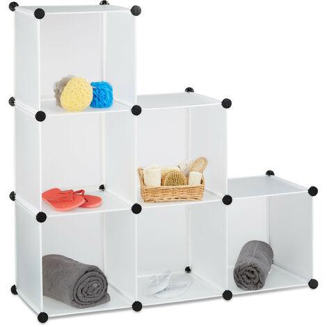 Étagère escalier 6 compartiments meuble bibliothèque séparation multi-cases séparateur de pièces, blanc