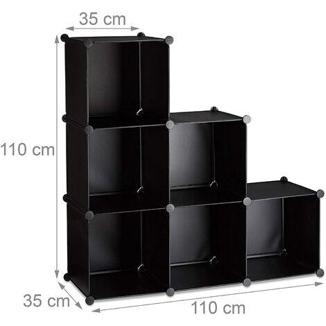 Étagère escalier 6 compartiments meuble bibliothèque séparation noir - Noir