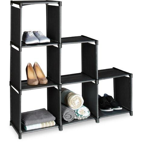 Étagère escalier 6 compartiments meuble escalier HxlxP: 109 x 106 x 30 cm bibliothèque séparation multi-cases séparateur de pièces, noir