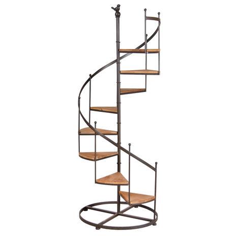 Étagère escalier en métal et bois, 8 niveaux - 53 x 53 x 135 cm -PEGANE-