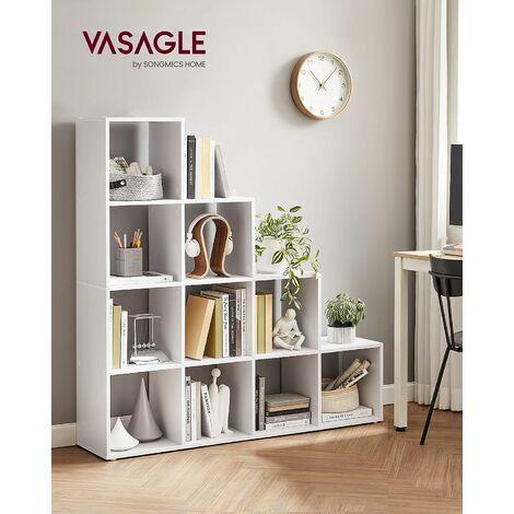 ÉTagère escalier, Meuble de Rangement, 10 Compartiments, pour bibliothèque, Salon, Chambre, Blanc, LBC10WTV1