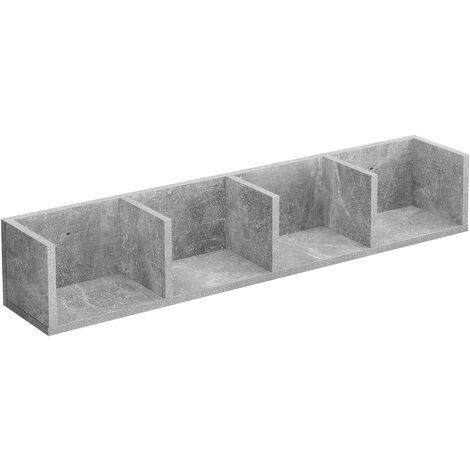 Étagère flottante meuble mural 4 compartiments de stockage 95 cm gris - Gris