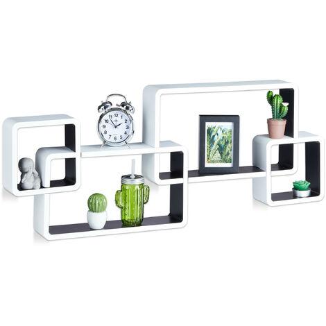 Étagère flottante murale suspendue 4 cubes meuble rangement bois MDF carré HxlxP: 42 x 104 x 10 cm, blanc-noir