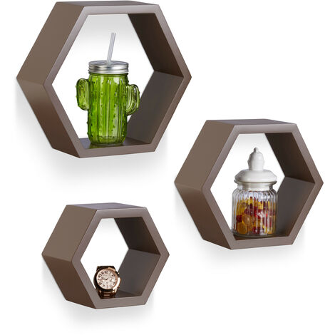 Étagère flottante murale suspendue lot de 3 cubes support mural meuble rangement bois, marron