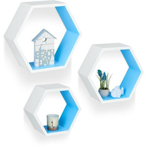 Étagère flottante murale suspendue lot de 3 support mural meuble rangement bois, blanc bleu