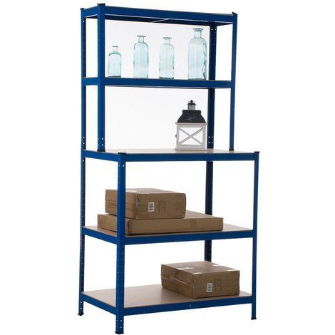 Etagère galvanisée établi pour charges lourdes en métal 5 niveaux bleu - bleu