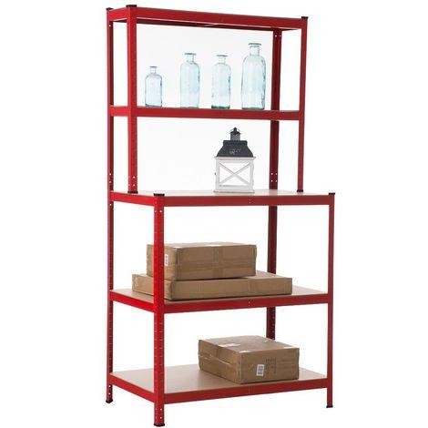 Etagère galvanisée établi pour charges lourdes en métal 5 niveaux rouge - rougeed