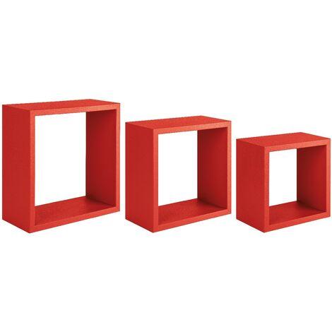 etagere Incubo Decoration Murale - Salon, Chambre, Bureau - MDF, Rouge 35 x 35 x 15,5/ 30 x 30 x 15,5/ 25 x 25 x 15,5