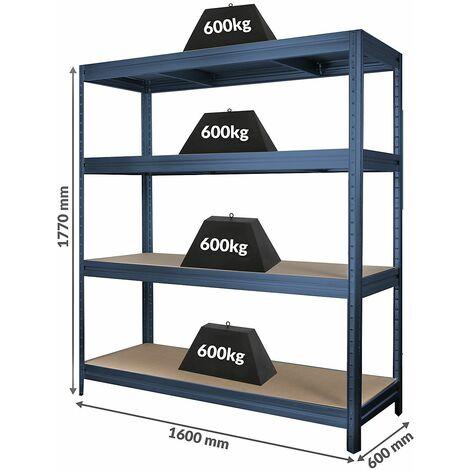 Étagère industrielle | 500 kg par tablette | Largeur 2000 mm | HxP 1770 x 600 mm | Gris bleuté foncé - gris bleuté foncé