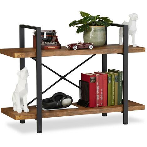 étagère industrielle, meuble sur pieds à 2 niveaux, 64,5 x 90 x 33,5 cm, MDF & métal, range-livres, marron