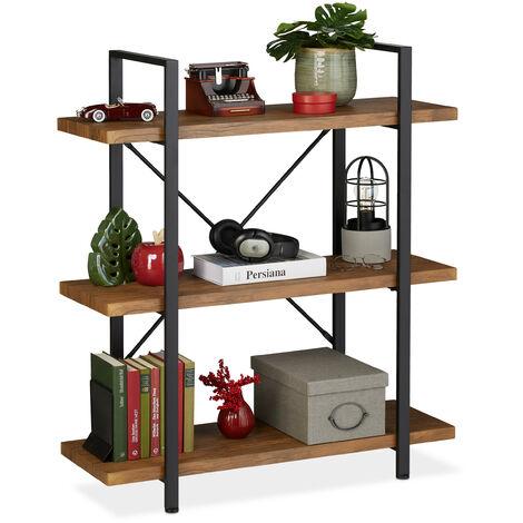 étagère industrielle, meuble sur pieds à 3 niveaux, 102x90x33,5 cm, MDF & métal, range-livres, marron/noir