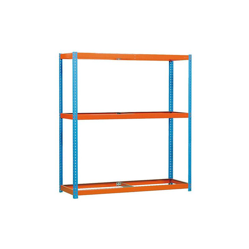 Étagère métallique 3 niveaux - 2000 x 1500 x 750 mm - KIT ECOFORTE - Bleu - Orange - Bleu / Orange