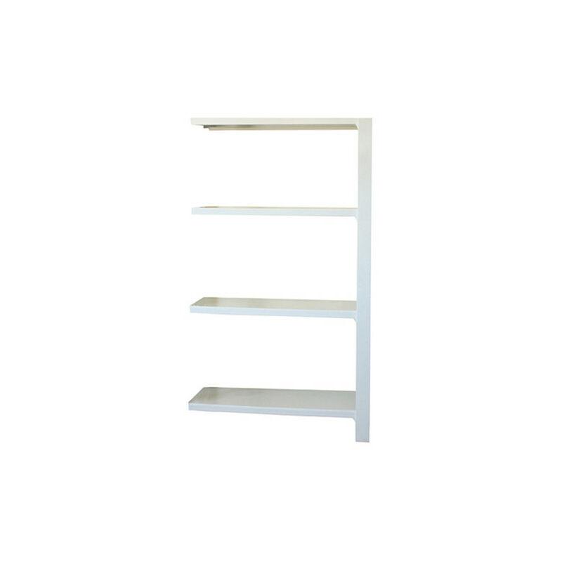 Étagère métallique 4 niveaux - 1500 x 900 x 300 mm - KIT OFFICLICK - WOOD A.M. - Blanc - Blanc