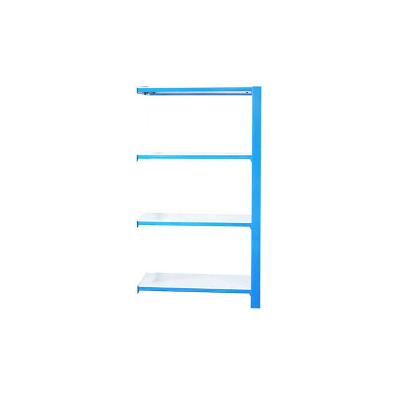Simonrack - Étagère métallique 4 niveaux - 1500 x 900 x 300 mm - KIT OFFICLICK - WOOD A.M. - Bleu - Blanc - Bleu / Blanc