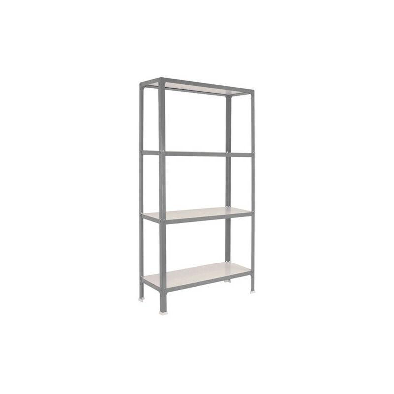 Simonrack - Étagère métallique 4 niveaux - 1600 x 800 x 300 mm - KIT HOMECLICK WOOD MINI - Gris - Blanc - Gris / Blanc