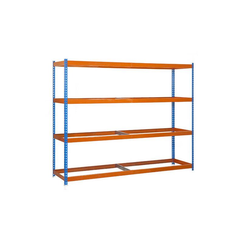 Étagère métallique 4 niveaux - 2000 x 1200 x 450 mm - KIT ECOFORTE - Bleu - Orange - Bleu / Orange