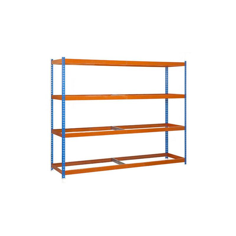 Étagère métallique 4 niveaux - 2000 x 1500 x 450 mm - KIT ECOFORTE - Bleu - Orange - Bleu / Orange