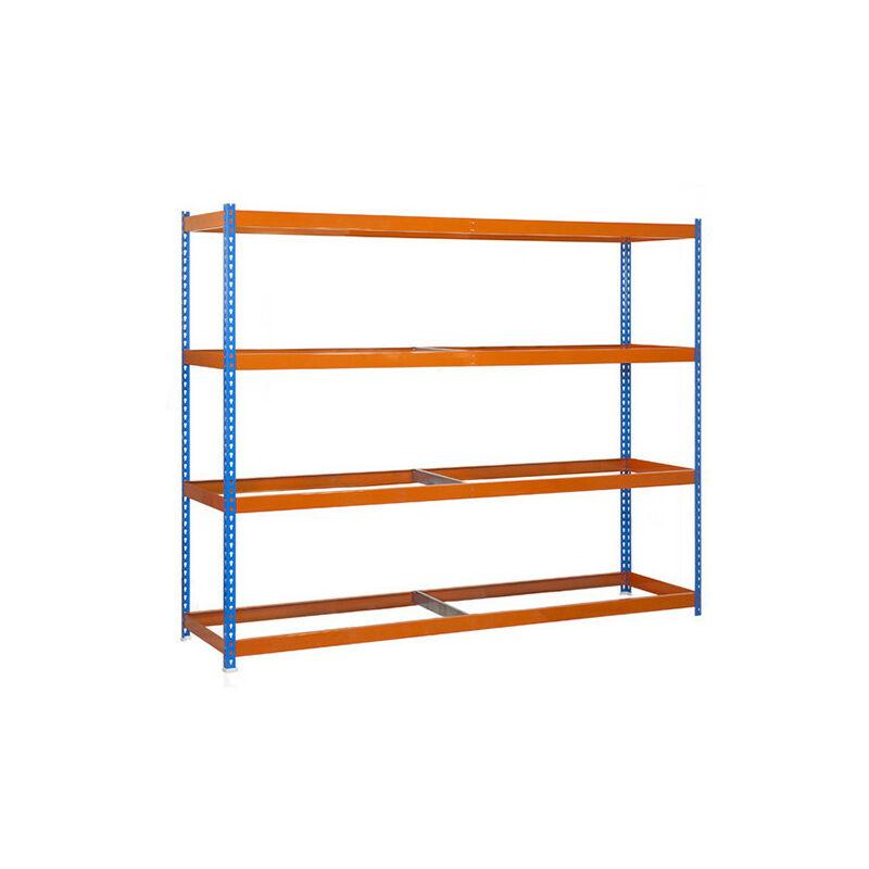 Simonrack - Étagère métallique 4 niveaux - 2000 x 2400 x 900 mm - KIT SIMONFORTE - Bleu - Orange - Bleu / Orange