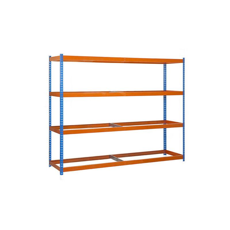 Étagère métallique 4 niveaux - 2000 x 1800 x 750 mm - KIT ECOFORTE - Bleu - Orange - Bleu / Orange