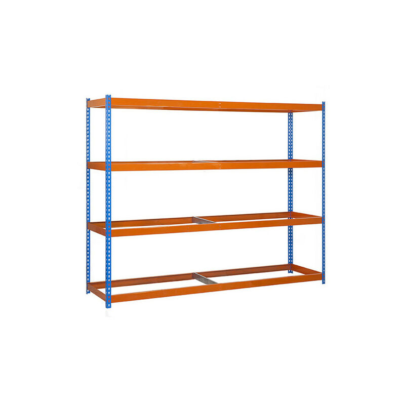Simonrack - Étagère métallique 4 niveaux - 2000 x 2400 x 750 mm - KIT SIMONFORTE - Bleu - Orange - Bleu / Orange