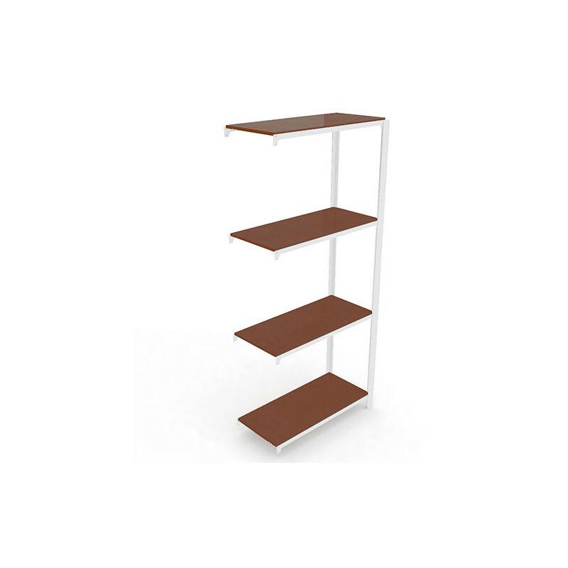 Étagère métallique 4 niveaux KIT OFFICLICK Additional Bois - 1500 x 900 x 300 mm - Blanc - Wengé - Blanc / Wengé