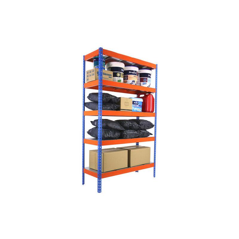 Étagère métallique 5 niveaux - 2000 x 1800 x 600 mm - KIT ECOFORTE - Bleu - Orange - Bleu / Orange