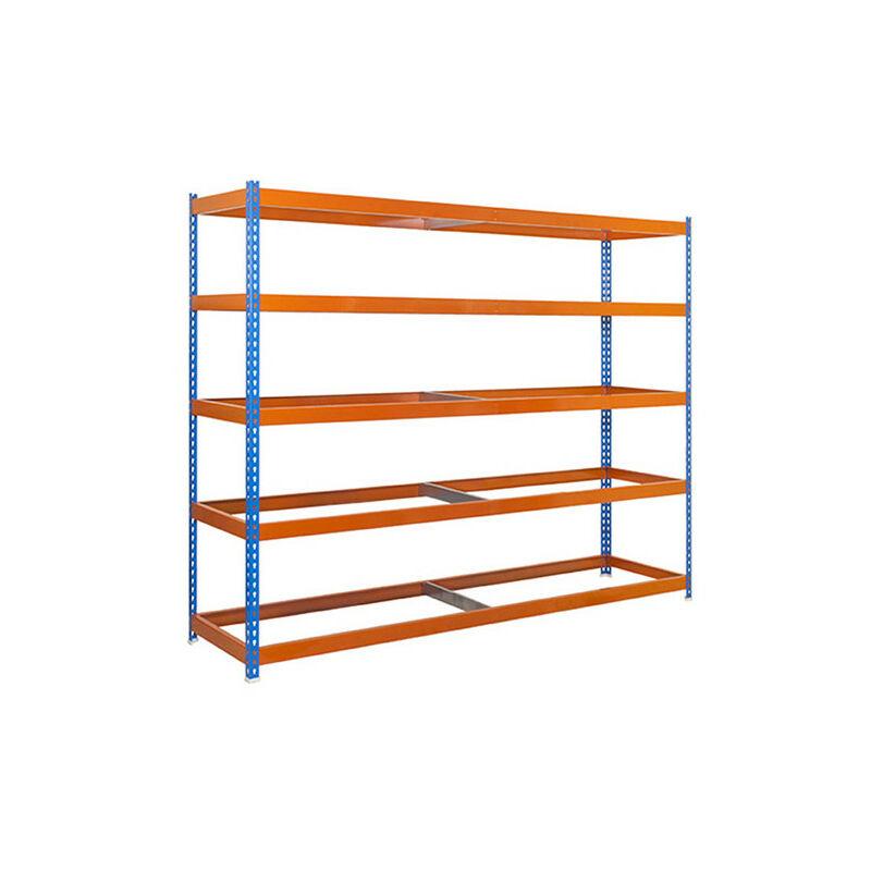 Étagère métallique 5 niveaux - 2000 x 1500 x 600 mm - KIT SIMONFORTE - Bleu - Orange - Bleu / Orange